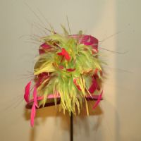 Lime Green & Pink Fusion Wedding Hat SN36